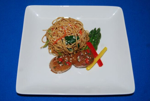 Ginger Scallops with Fried Egg Noodles, Asparagus, and Mixed Peppers