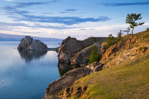 light sunset lake tree water beautiful scenery rocks view siberia lakebaikal olkhonisland