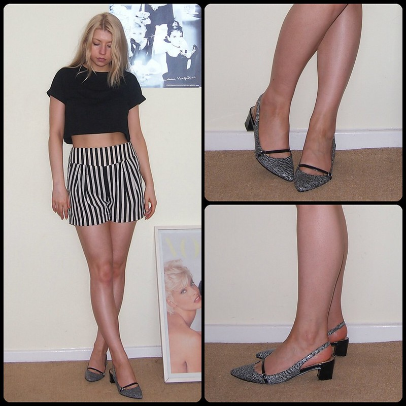 Sam Muses, UK Fashion Blogger, London Blog, M&S, Marks & Spencer, Marks and Spencer, Monochrome, Pointy, Pointed, Slingback, Animal, Block Heel, Low, Mini, Midi, Stripes, Striped Shorts, F&F, Primark, Crop Top, Boyfriend Tee, T-Shirt, Tesco