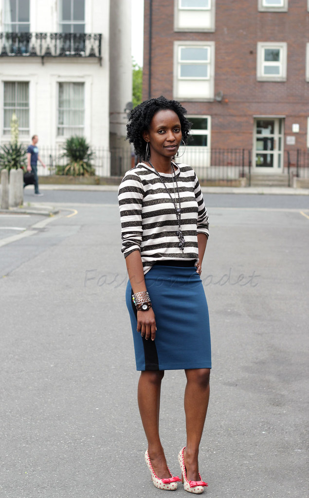 polka dot shoes, stripe top, polka dot & stripes, mixing pattern