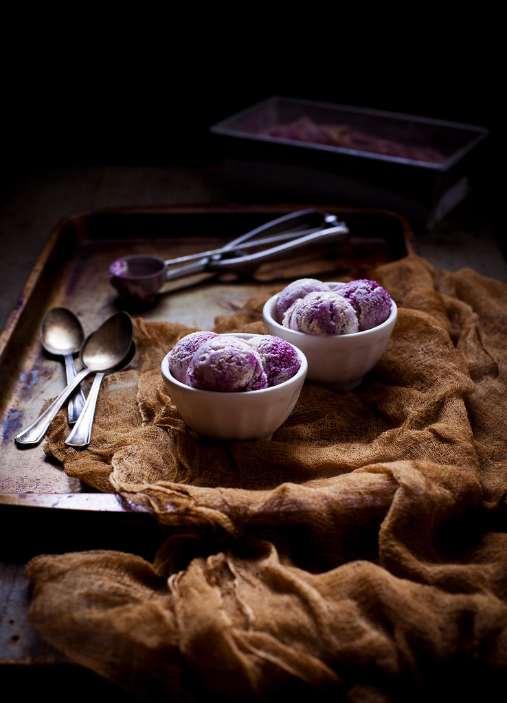 Honey-Thyme & Blackberry–Goat Cheese Swirl Ice Cream