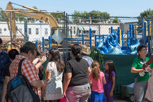 Crowd in Front of Whittier Field House (La Casita) Demolition
