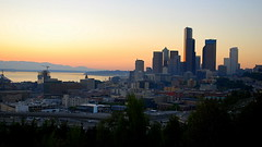 Sunset 09.12.13 Over Downtown Seattle and the Olympics From Jose Rizal Park