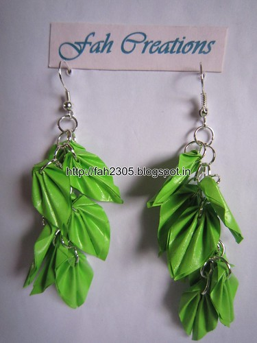 Handmade Jewelry - Origami Paper Leaves Earrings (22) by fah2305