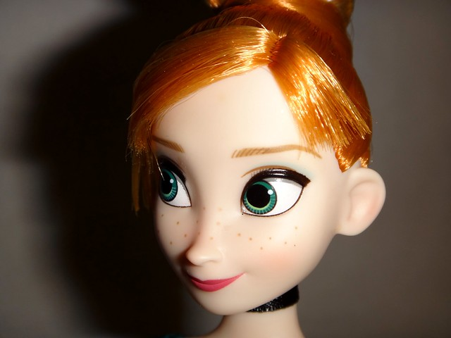 Frozen Deluxe Fashion Doll Set - US Disney Store Purchase - Anna Doll Deboxed - Standing - Closeup Right Front View #2