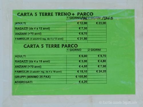Precio del Ticket individual con y sin acceso al barco de la Cinque Terre Card
