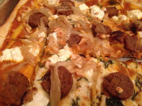 Pumpkin Pizza with Carmelized Onion, Sage, Toasted Pine Nuts, Ricotta, Fontina and Veggie Sausage