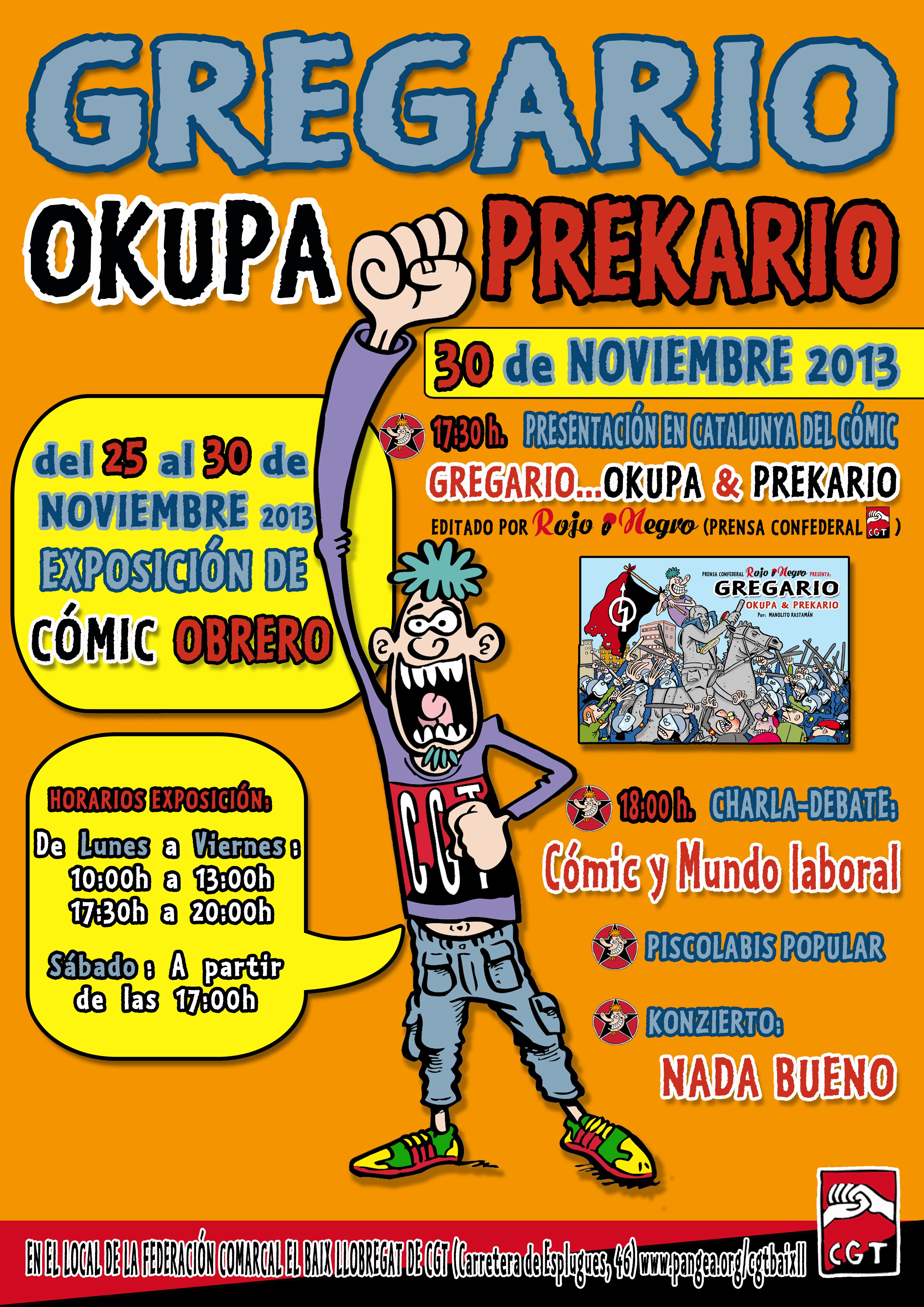 jornada de comic obrer a Fed. Comarcal Baix Llobregat a #Cornellà del #25N al #30N