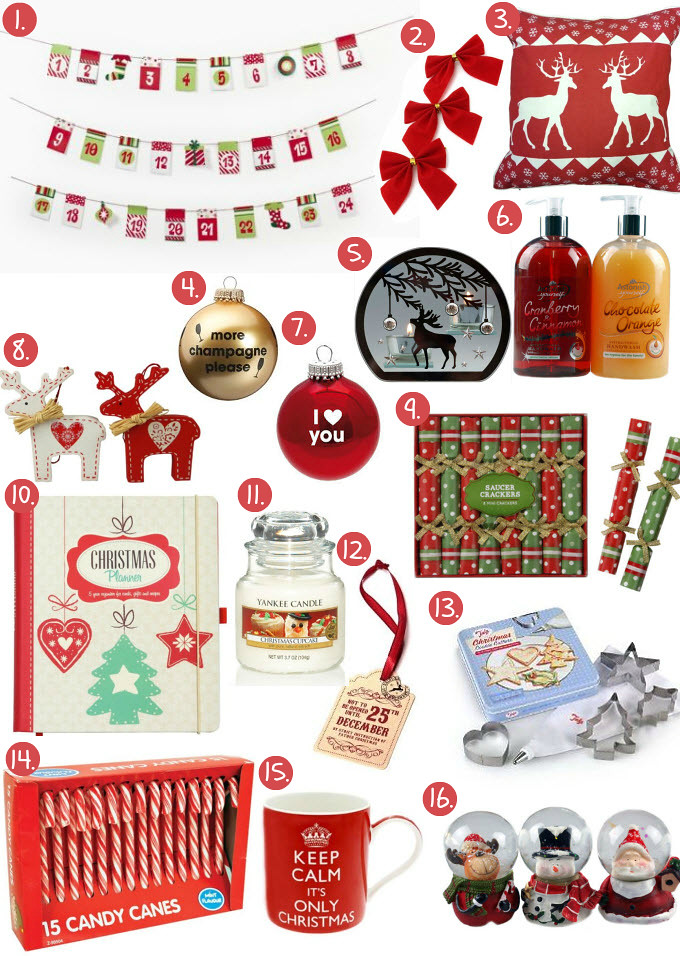 "Cheap Friday- Ebay bargains (The Christmas home edition)- featuring advent wall garland, red bows, reindeer cushion pillows, fire crackers, christmas planner, yankee candle, cookie cutters, candy canes with mint flavor, mug"" keep calm it's only christmas, snowglobes with reindeer, santa claus and snowman"