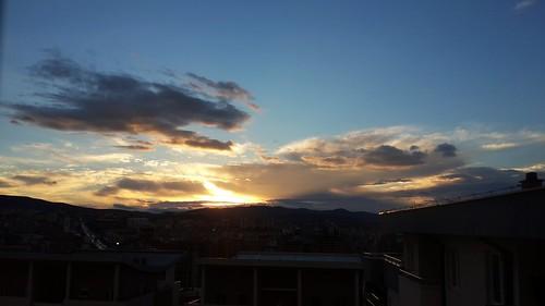 prishtina kosovo pristina autumn sun sunrise sky blue cloudy cold pristine drama dramatic morning early earlymorning dusk