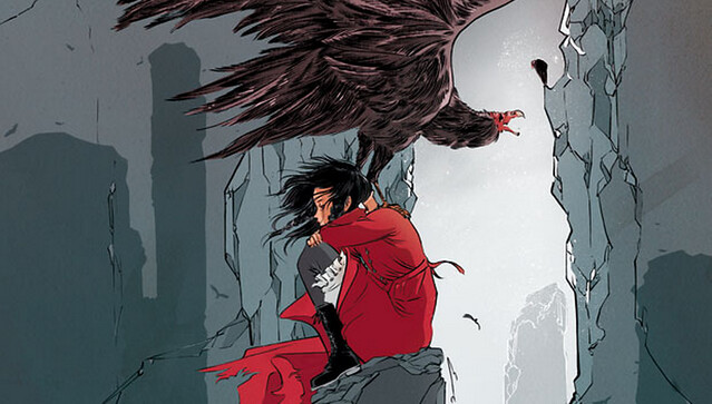 A cover of a comic featuring a woman in a red cape and a giant bird