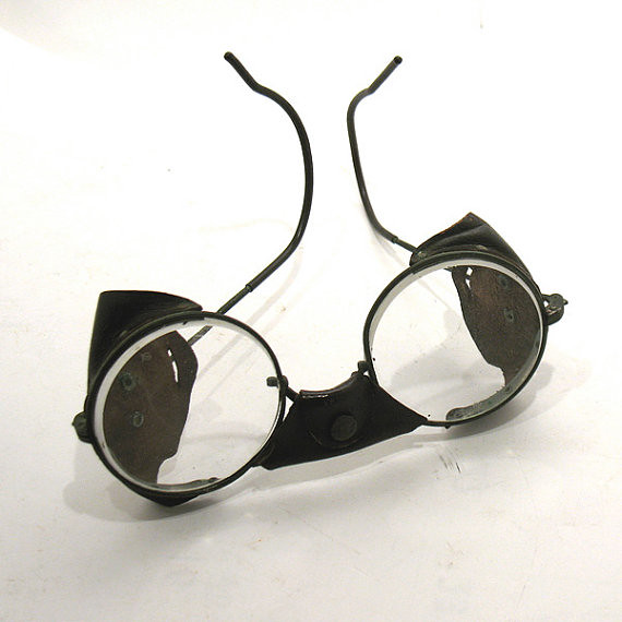 vintage american optical ao safety glasses leather bridge side. Black Bedroom Furniture Sets. Home Design Ideas