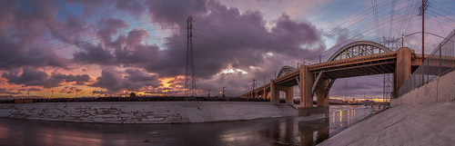 sunrise pano 1022mm dtla lariver 6thstbridge canon7d 6thstviaduct ©shabdrophoto