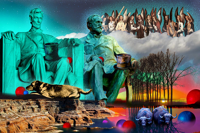 Aurora Borealis, Hans Memling Angel Musicans, Abraham Lincoln Memorial Statue and Lincoln's Dog Fido 6 x280 bp