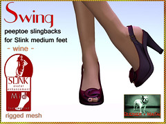 Bliensen + MaiTai - Swing - Peeptoe Slingbacks for Slink Feet - wine Kopie