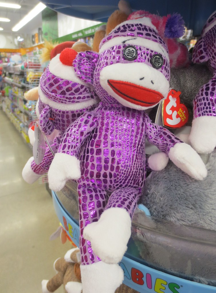 Shiny purple sock monkey