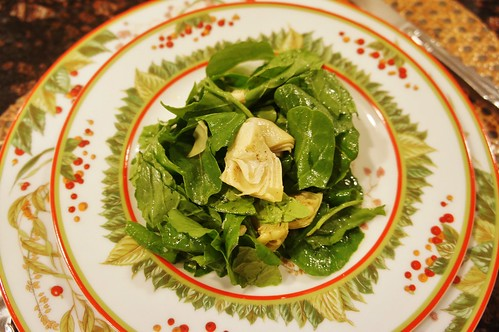At Home:  Arugula and Artichoke Salad