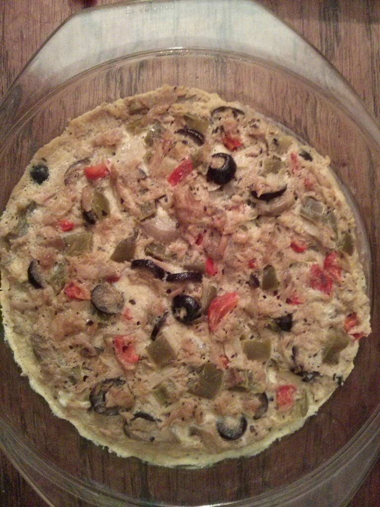My very own Frittata I made from leftover foods like sauteed canned tuna, tomatoes, onions, garlic, paprika and black olives