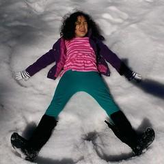 The snow angel. #daisy #newmexico #snowangel