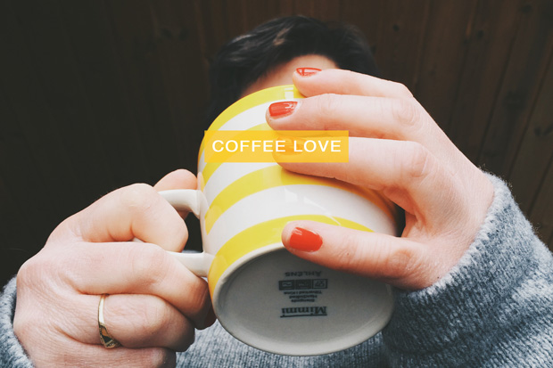 RED fingernails + coffee