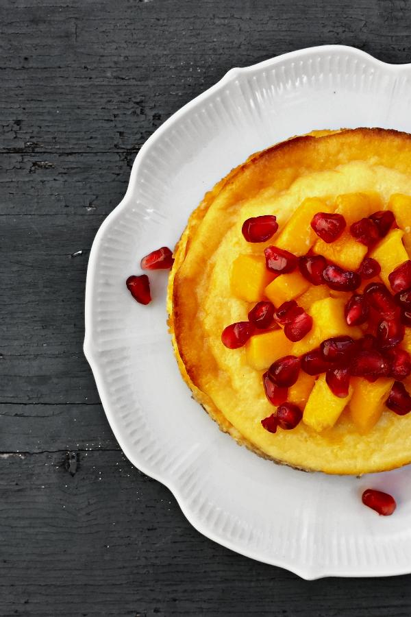 tarta de queso y frutas {mango y granada}