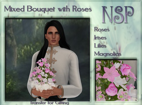 NSP Mixed Rose Bouquet - Pink-White