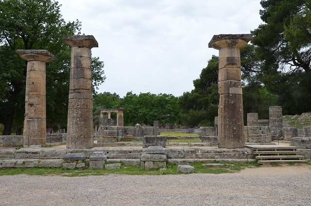 Restored ruins of the Temple of Hera, ancient Doric Greek temple at Olympia, Greece