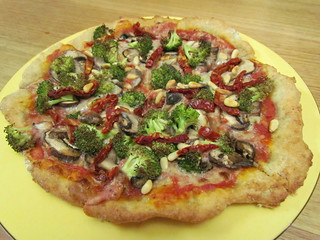 Mushroom, Broccoli, and Sun-Dried Tomato Pizza
