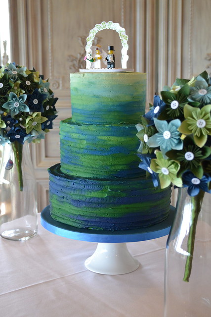 blue ombre wedding cake blue and green ombre watercolour wedding cake flickr 11997