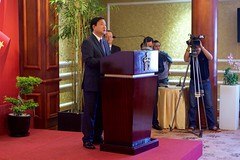 Secretary of Ho Chi Minh City Party Committee Dinh La Thang addresses the audience - including U.S. Secretary of State John Kerry - during a ceremony to mark the licensing of the U.S.-supported Fulbright University Vietnam on May 25, 2016, at the Rex Hotel in Ho Chi Minh City, Vietnam. [State Department photo/ Public Domain]