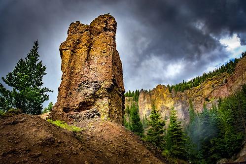 sky cloud mountain tree nature weather rock landscape outside outdoors us colorado unitedstates cloudy antonito