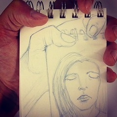 Easier to #doodle on the shaky bus now that I have a flip #sketch book.