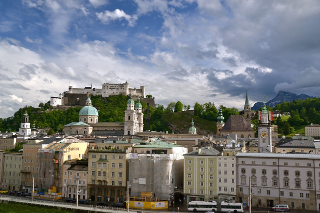 Historical Salzburg in front of a vivid sky