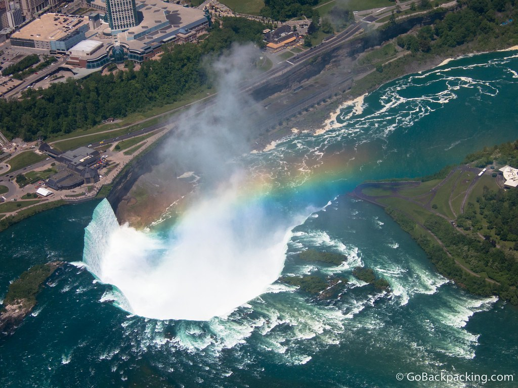 As we flew clockwise over the Falls, a rainbow appeared