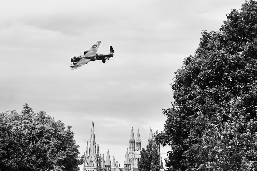 Lancaster over Cathedral BW