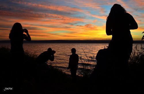 sky lake clouds sunrise landscape golden colours photographers hour paraguay aregua