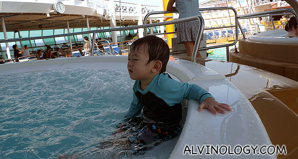 Asher did not want to climb out of the whirlpool