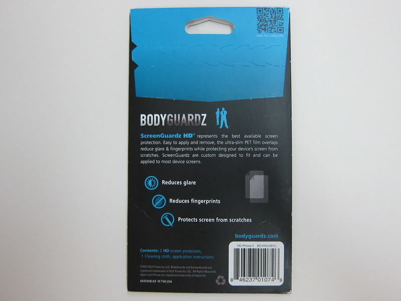 BodyGuardz - ScreenGuardz HD for iPhone 5 - Packaging Back View