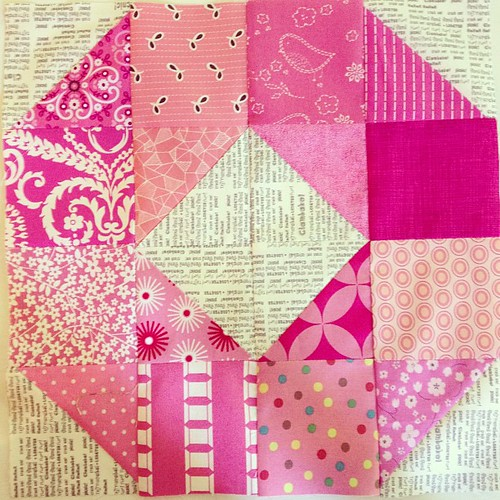 Pink wheel block for July #dogoodstitches #havendgs