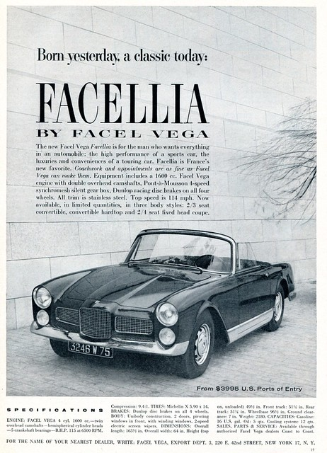 1960 Facellia Advertising Sports Car Illustrated December 1960