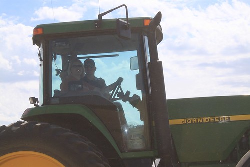 Brandon and Mom in the grain cart, goofing off.