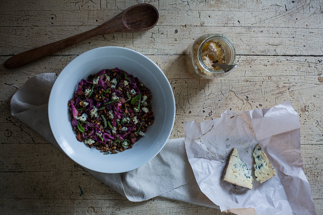 cider braised cabbage & lentil salad with guanciale, blue cheese, and mint