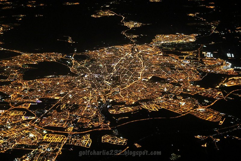 Madrid from a plane at night