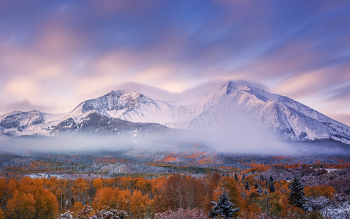 pictures longexposure autumn light snow mountains color fall nature beautiful fog sunrise canon landscape photography october colorado outdoor fallcolors scenic lee co rockymountains aspen filters lowclouds attractions sopris mountsopris neutraldensity 2013 colorefexpro 10stop niksoftware elkmountains bigstopper tobyharriman