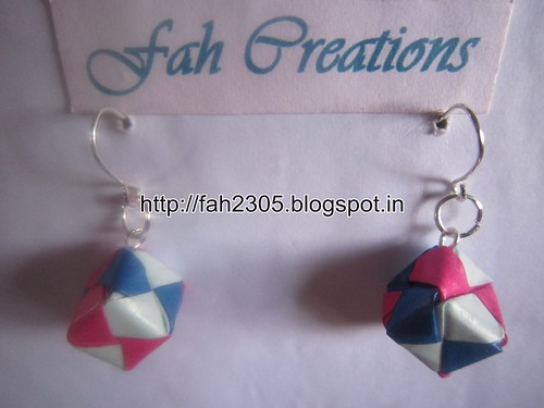Handmade Jewelry - Origami Paper Qube Earrings (2) by fah2305