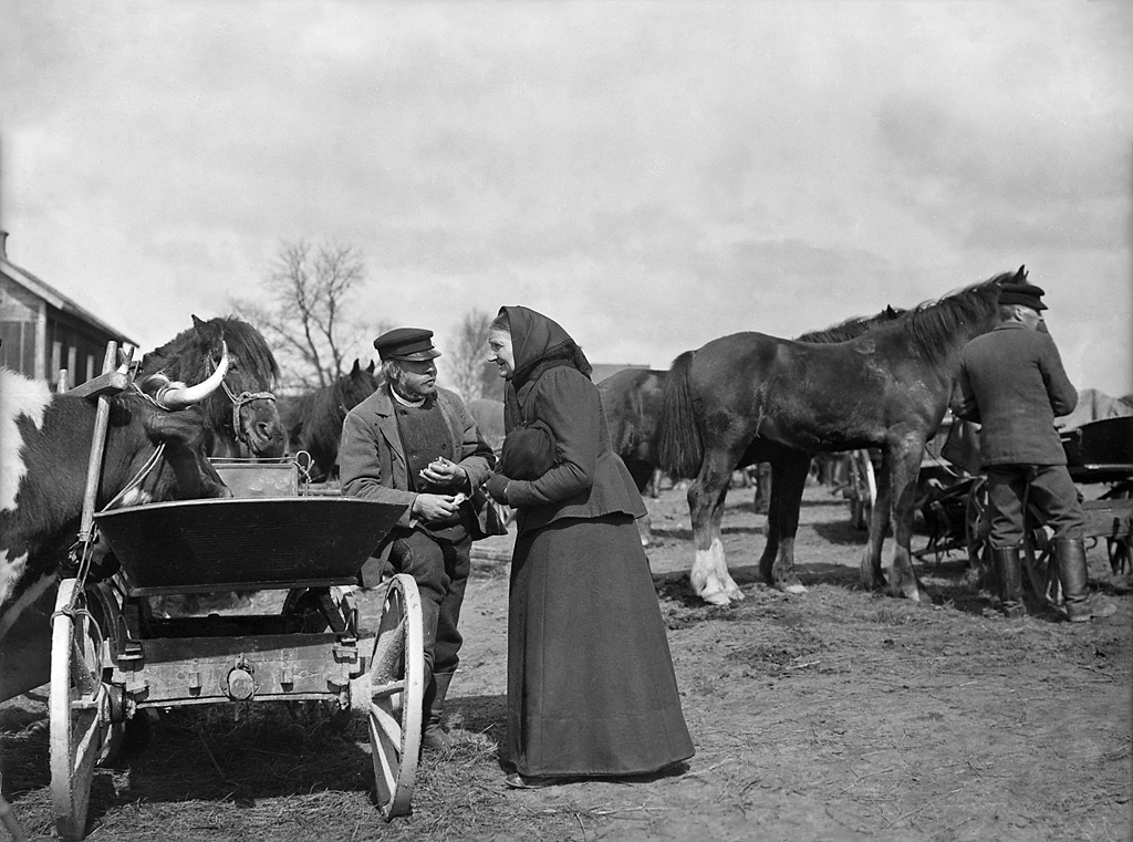 Man and woman by a carriage, Sweden