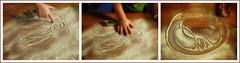 Lotti Drawing in the Flour while Baking Christmas Cookies - Triptych: Portrait 2 / Erasing / Portrait 3 ~ Weihnachtskekserlbacken mit Lottchen Triptychon Mehlzeichnen: Porträt 2 / Löschen / Porträt 3