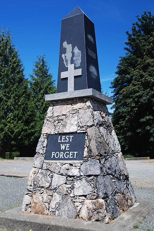 War memorial in Bowser, Vancouver Island, British Columbia, Canada.