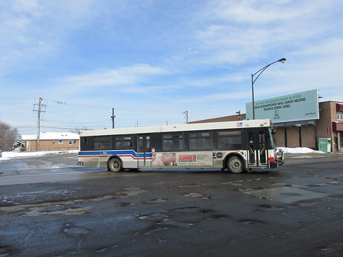 Eastbound CTA Rt # 62 /  Archer bus departing the west terminal at South Archer and Neva Avenues.  Chicago Illinois.  Sunday, February 2nd, 2014. by Eddie from Chicago