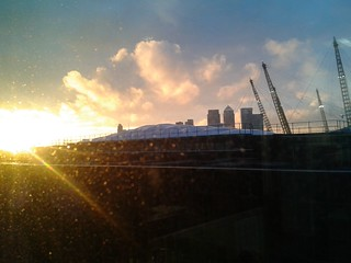 Sunset at the Millenium Dome and Canary Wharf